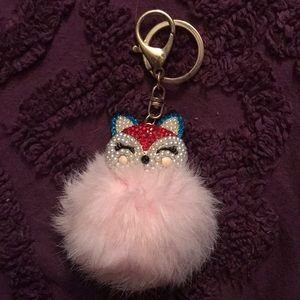 NWOT Sexy kitten bedazzled fur keychain pink fox